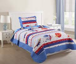 marcileo 2 piece kids bedspread quilts set throw blanket for teens boys girls bed printed bedding coverlet twin size spaceman 231 in home
