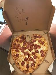 4 friend called dominos to send me a surprise heart shape valentine s day pizza while i m on a business trip