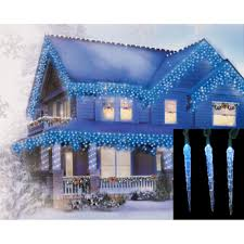 Blue And Warm White Icicle Lights Set Of 10 Blue And White Color Changing Led Icicle Christmas Lights Green Wire
