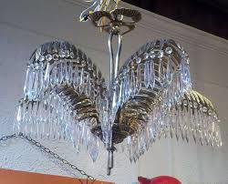 art nouveau pair of bronze and crystal palm tree chandeliers for