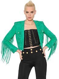 balmain fringed suede cropped jacket green women clothing balmain shoes boots balmain t shirt