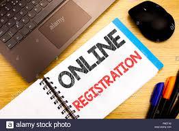 Handwritten Text Caption Showing Online Registration
