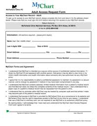 Mcfarland Clinic My Chart Fillable Online Adult Access Request Form Mcfarland Clinic