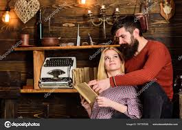 couple in love reading poetry in warm atmosphere romantic evening concept