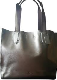coach pebbled leather tote in metallic silver image 0