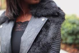 river island black faux fur collar belted jacket blogger