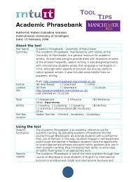 Tool Tip Academic Phrasebank | Vocabulary