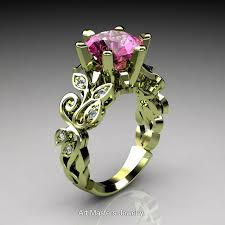 nature inspired 14k green gold 3 ct pink