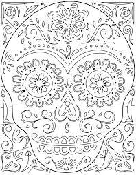 Small Picture Day of the Dead Sugar Skull Coloring Page Hallmark Ideas