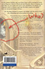 on the back cover of the bloomsbury edition of harry potter and the goblet of fire is this picture gob fire back illus