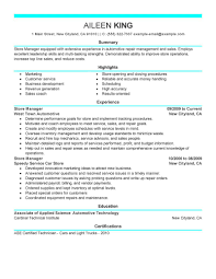 Best Store Manager Resume Example Livecareer
