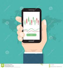Candlestick Chart App Businessman Hold Smartphone With Candlestick Chart App