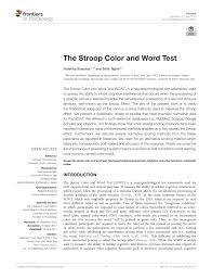 This test is a good one for familiarizing yourself or others with the basics of personality. Pdf The Stroop Color And Word Test