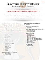 Employment - Official Site Of The Crow Tribe Executive Branch
