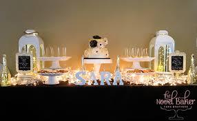 blackwhitegold sweet table 60th birthday party 2 tier cake white gold cake pops