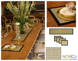 Indonesian Table Setting Handmade Cotton Gray Weaves Mendong 5 Piece Table Setting