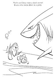 Finding Nemo With Shark Coloring Page Printables Finding Nemo
