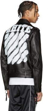 off white black leather diagonal carryover biker jacket men off white pants sizing