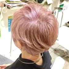 白髪を活かしたピンクベージュ 白髪白い髪なのでほぼダブルカラーに