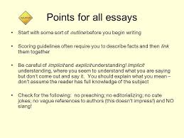 writing for the ap government exam types of ap essays formal  points for all essays start some sort of outline before you begin writing scoring guidelines