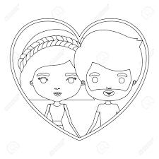 ウェーブのかかったショート髪型短い髪とひげ彼女と形状のカップルと