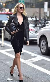 candice swanepoel black dress black leather jacket style