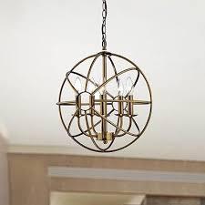 lovable round globe chandelier 5 light polished brass metal strap globe chandelier