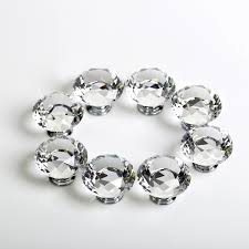 8x 16x 40mm diamond cupboard wardrobe door knobs clear crystal draw pull handle
