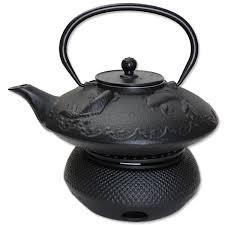 teapot warmer 24 fl oz black fancy carp fish koi japanese cast iron teapot