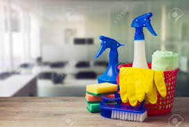 Office Cleaning Service Concept With Supplies Stock Photo Picture