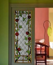 flowers pattern stained glass door panel with art craft