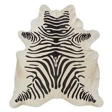 stenciled zebra hide rug