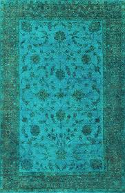 rugsville traditional overdyed light blue wool rug 12276
