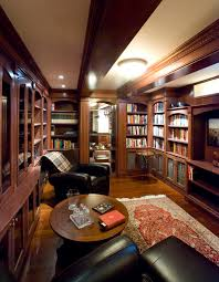 brazilian cherry wood home office traditional with accent rug beamed ceiling black leather chairs book shelves cherry wood home office