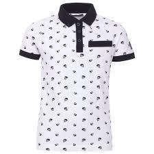 Pattern Shirts Inspiration Boys White Micro Skull Print Pattern Polo Shirt