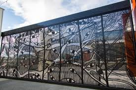 the reverse side of the laser cut gate created by michael schlitz is more than seven on laser cut metal wall art australia with the reverse side of the laser cut gate created by michael schlitz is