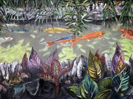 oil painting of koi in japanese tea garden in san antonio texas by jeffrey dale starr