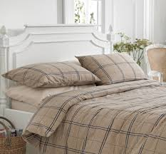 vermont beige checked brushed cotton duvet cover set