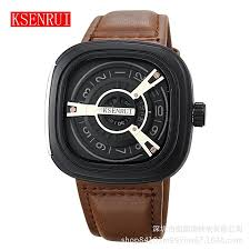 ksenrui seven friday casual sports foreign leather strap watch brown