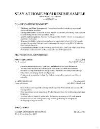 Sample Resumes For Stay At Home Moms