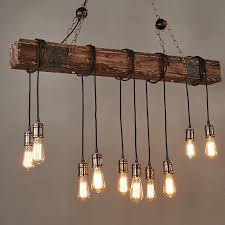 farmhouse style dark distressed wood beam large linear island pendant light 10 edison bulbs pendant lights ceiling lights lighting
