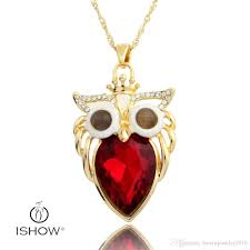whole crown owl pendant necklaces red women necklace 18k gold plated cat s eye twisted singapore chain ewelry key pendant necklace long pendant