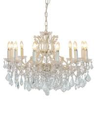 12 arm antique le white shallow chandelier