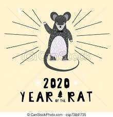 chinese new year card 2020 2020 chinese new year of the rat zodiac cute character greeting card template scandinavian style vector illustration