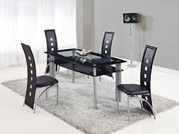 dining table set black frosted glass top with shelf and chairs