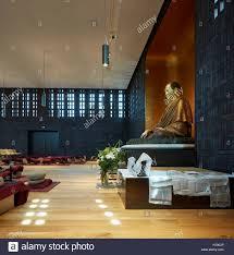 Jp Walters Design Shrine Room With Buddha Figure Vajrasana Retreat Stock