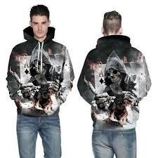 <b>New</b> Fashion Women Men <b>Skull Poker 3D</b> Print Hoodie Jacket ...
