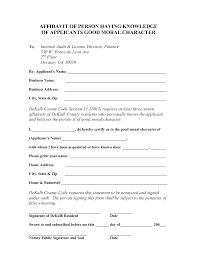 Affidavit Letter Sample Good Moral Character Bona Legal Stuf