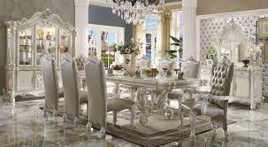 white dining table set. Acme Versailles 9-Piece Pedestal Dining Set In Bone White By Rooms Outlet Table