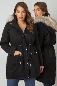 plus size parka black cotton parka with faux fur trim hood plus size 16 to 36